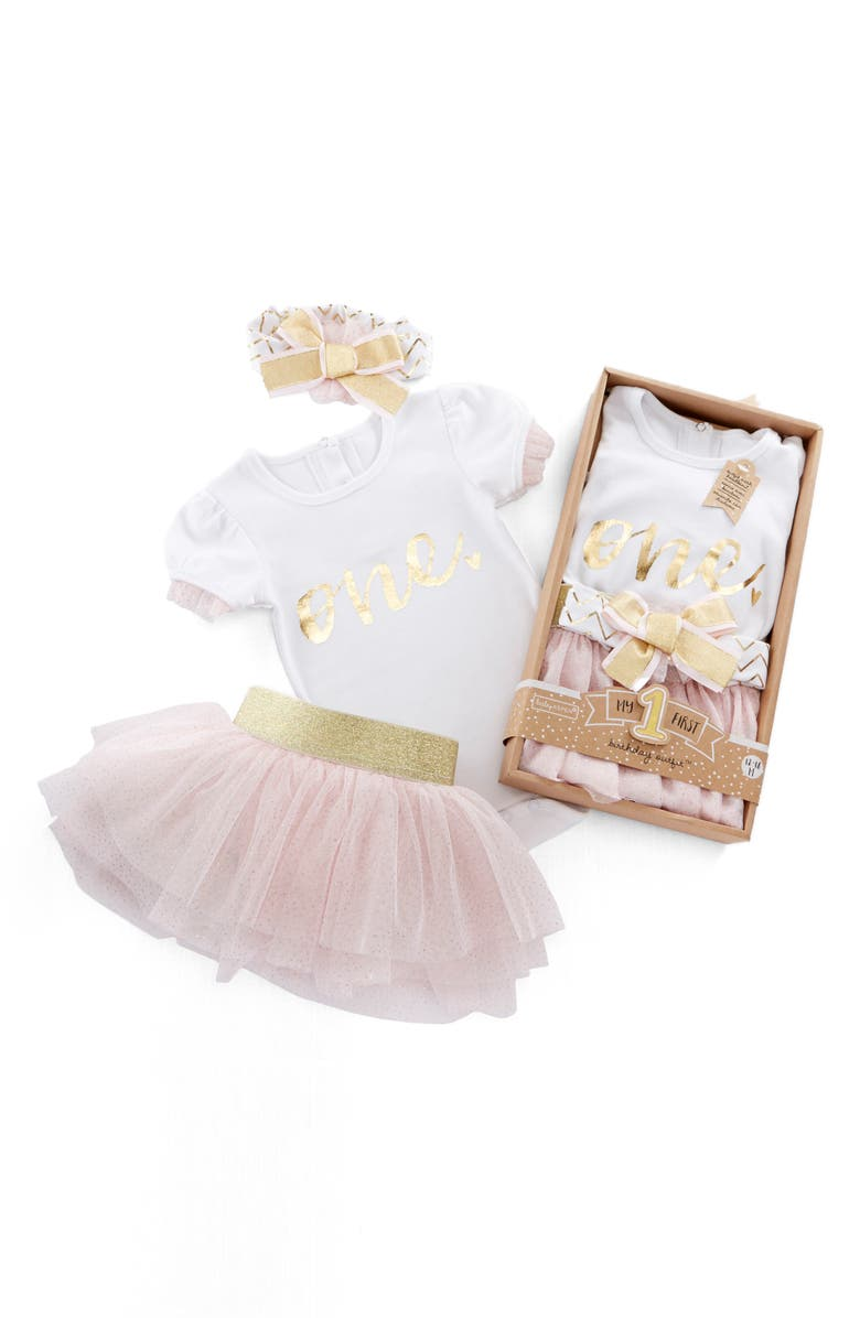 BABY ASPEN My First Birthday Bodysuit, Tutu and Head Wrap Set, Main, color, PINK