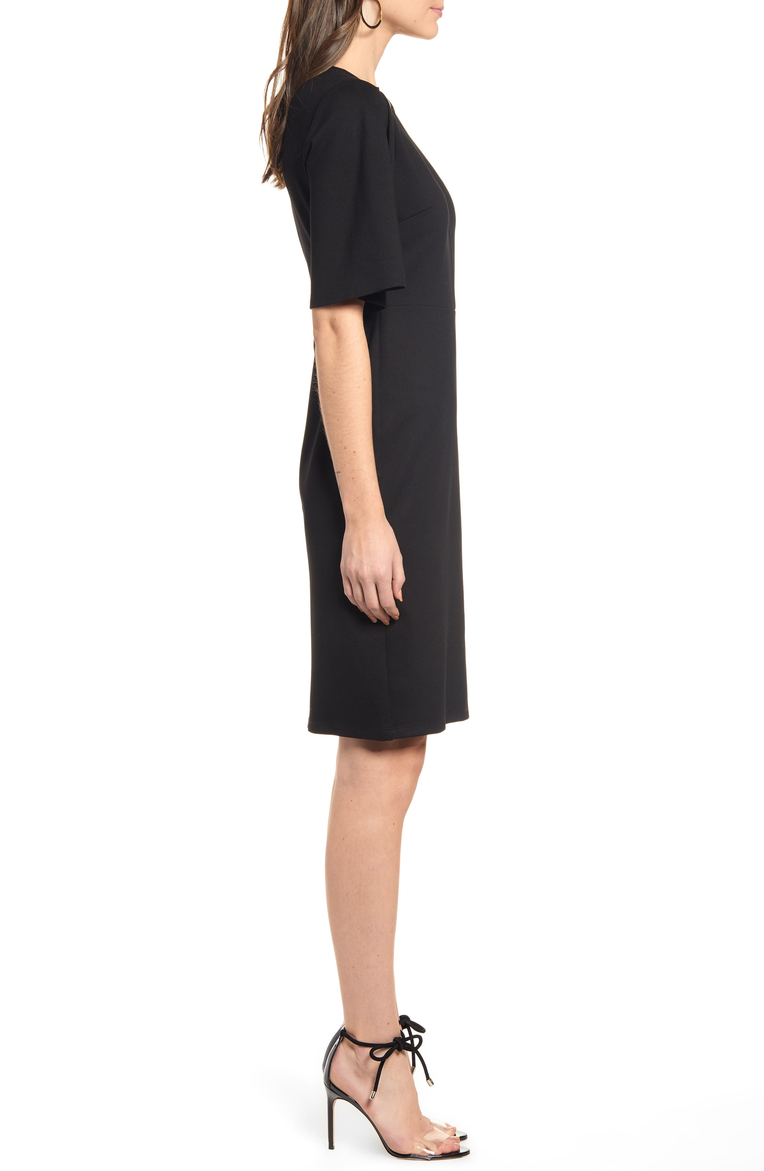 ,                             Flutter Sleeve Ponte Dress,                             Alternate thumbnail 4, color,                             BLACK