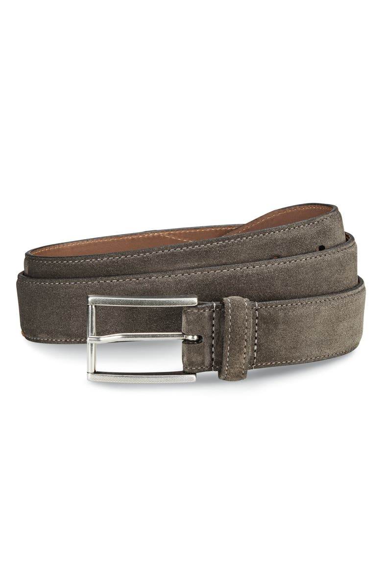 ALLEN EDMONDS Suede Avenue Leather Belt, Main, color, GREY SUEDE