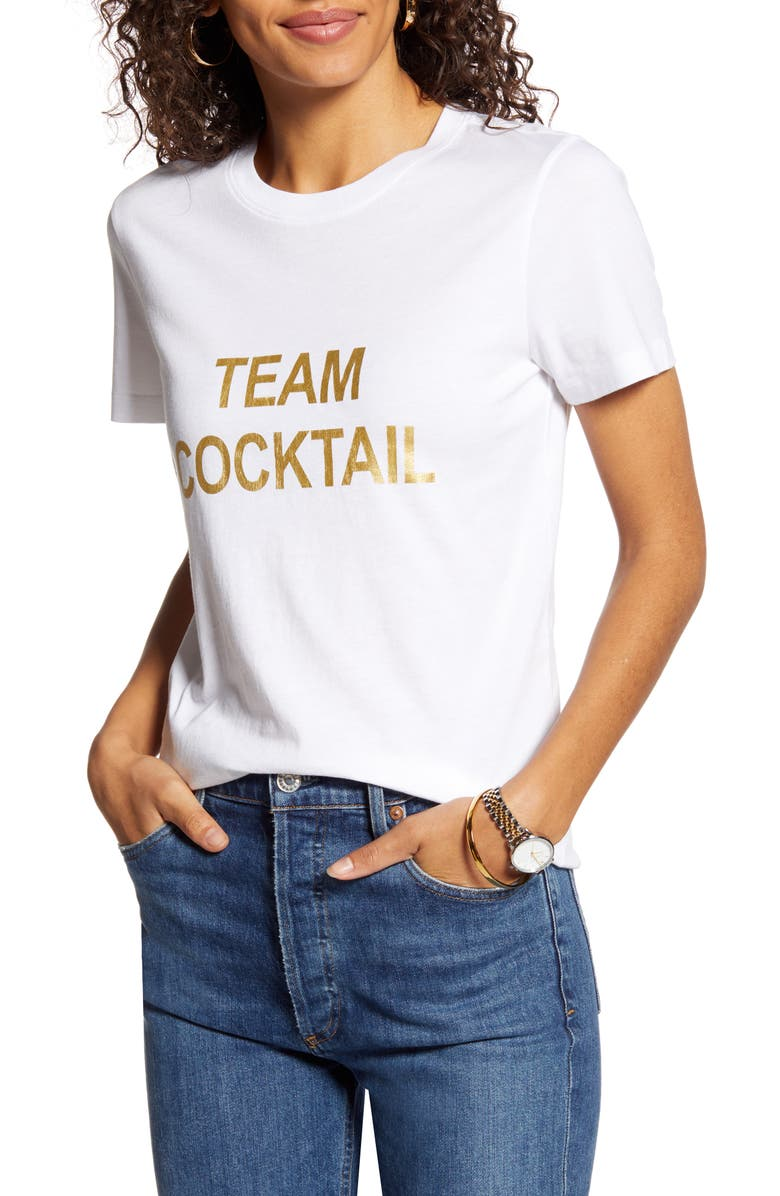 1901 Team Cocktail Cotton Blend Tee, Main, color, WHITE- GOLD TEAM COCKTAIL