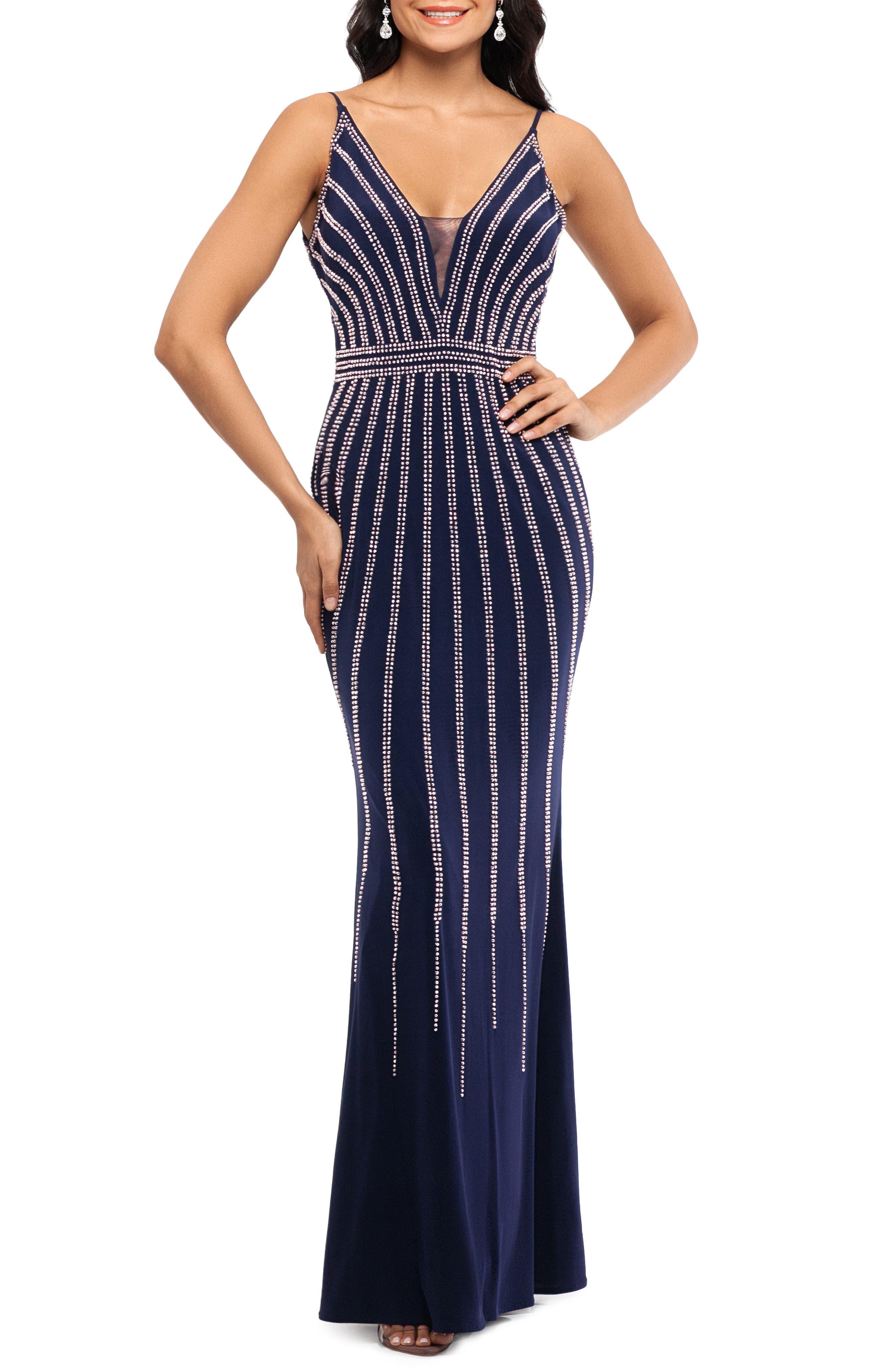 Xscape Beaded Evening Dress, Blue