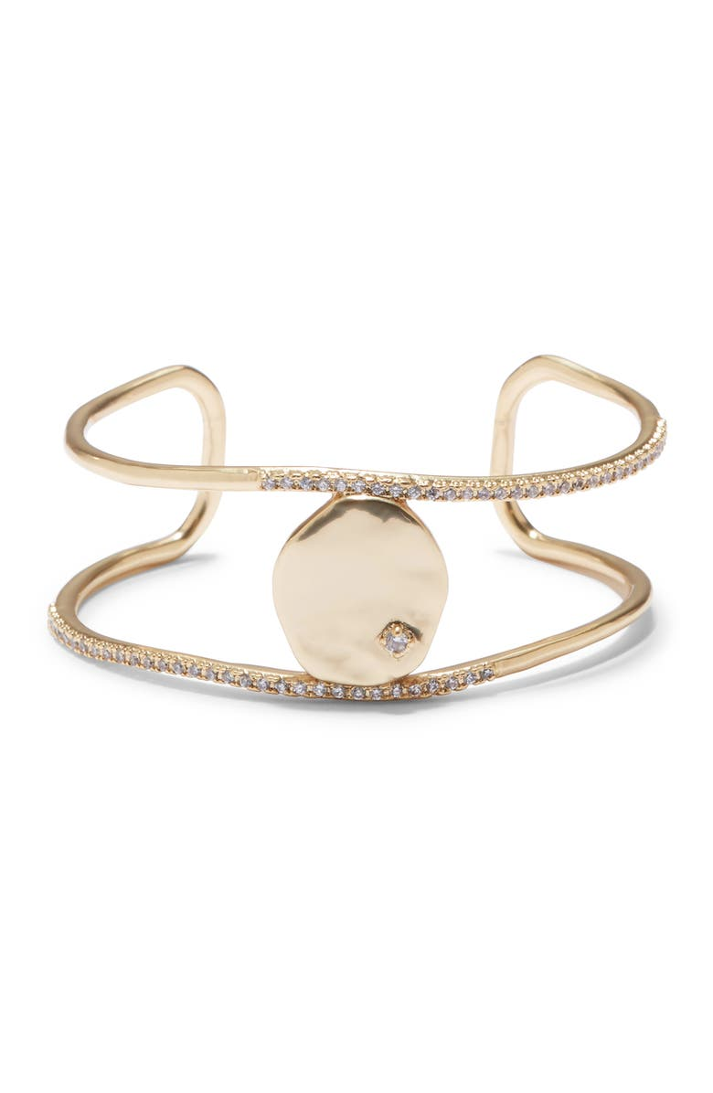 SOLE SOCIETY Disc Cuff Bracelet, Main, color, GOLD/ CRYSTAL