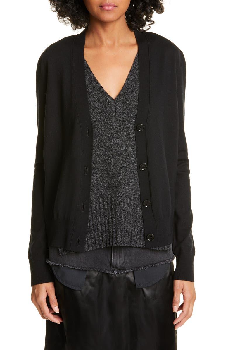 MM6 MAISON MARGIELA Layered Wool Blend Cardigan, Main, color, BLACK