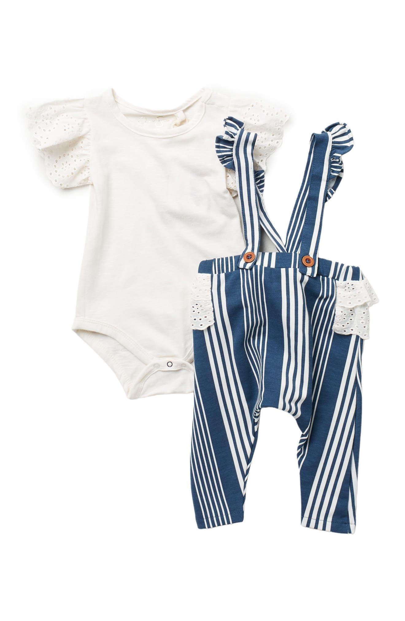 Image of Jessica Simpson Ruffled Short Sleeve Bodysuit w/ Overall Pants Set