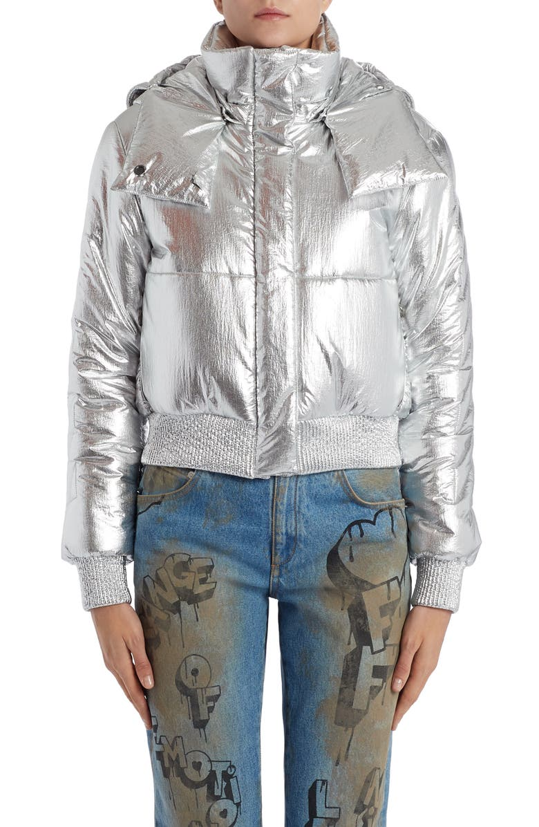 OFF-WHITE Logo Metallic Puffer Jacket, Main, color, SILVER SILVER