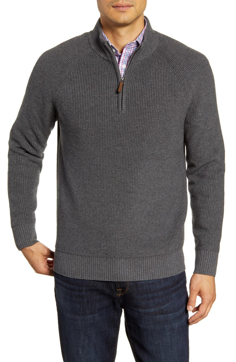 NORDSTROM MEN'S SHOP Ribbed Quarter Zip Sweater, Main, color, GREY CASTLEROCK
