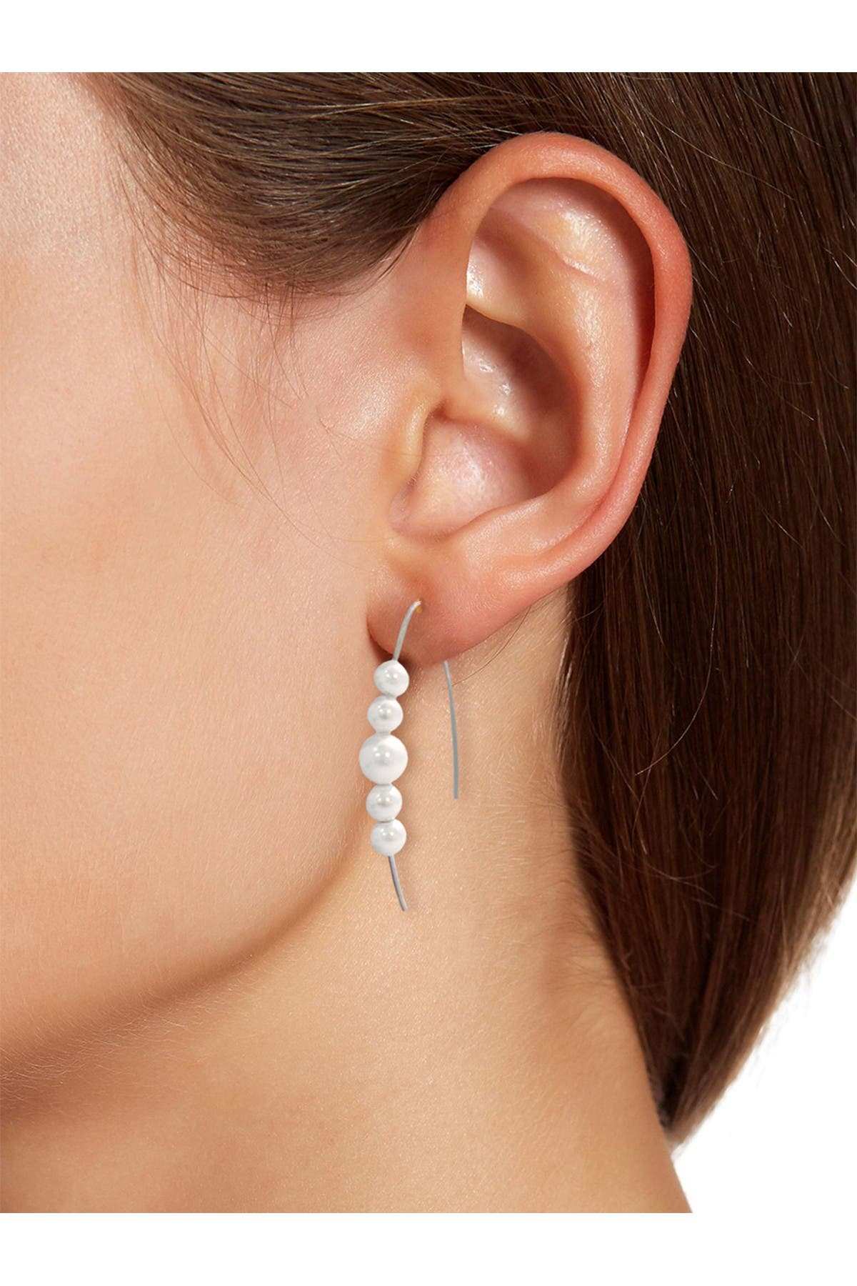 Image of Savvy Cie Sterling Silver Graduated 5-8mm Cultured Freshwater Pearl Threader Earrings