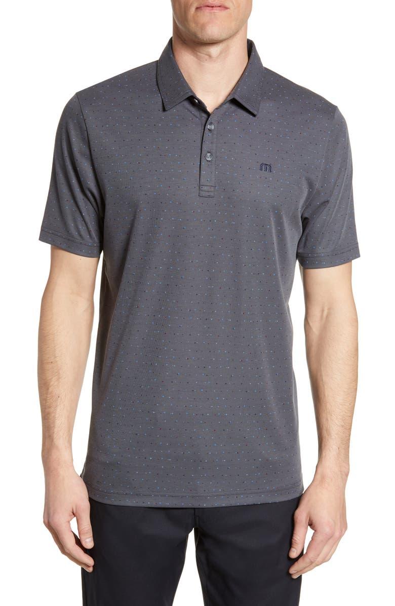 TRAVISMATHEW Izzy Regular Fit Dot Piqué Performance Polo, Main, color, GREY PINSTRIPE