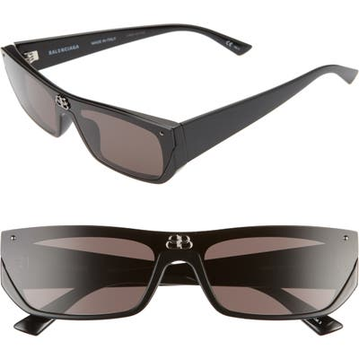 Balenciaga 9m Rectangular Cat Eye Sunglasses - Black/ Grey
