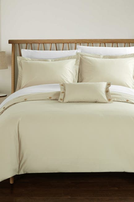 Image of Chic Home Bedding Beige Odin 200 Thread Count Twill Weave Button Detail Queen Duvet Cover 4-Piece Set