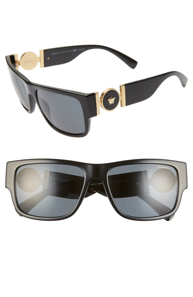 VERSACE 58mm Polarized Pillow Sunglasses, Main, color, 001