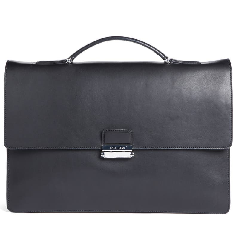 COLE HAAN Leather Briefcase, Main, color, 001