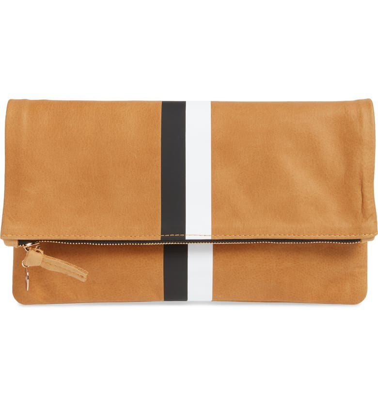 CLARE V. Center Stripe Leather Foldover Clutch, Main, color, 200
