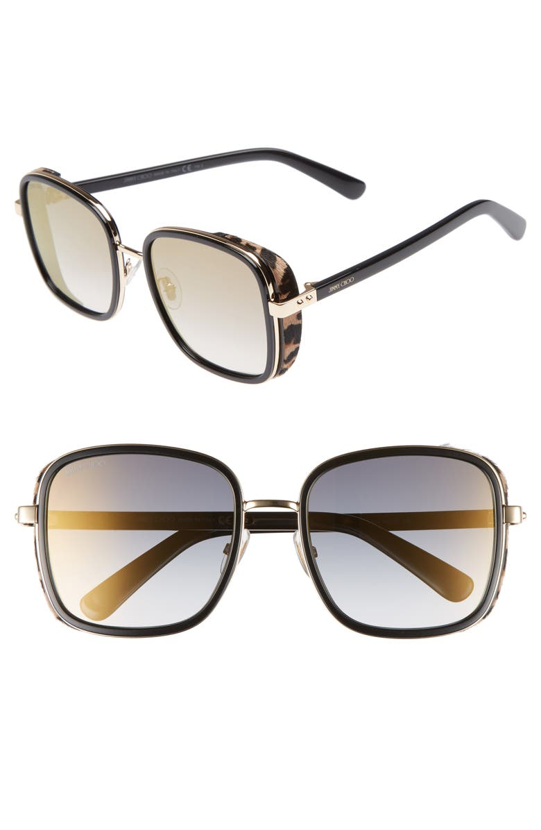 JIMMY CHOO Elva 54mm Square Sunglasses, Main, color, BLACK/ GOLD/ LEOPARD
