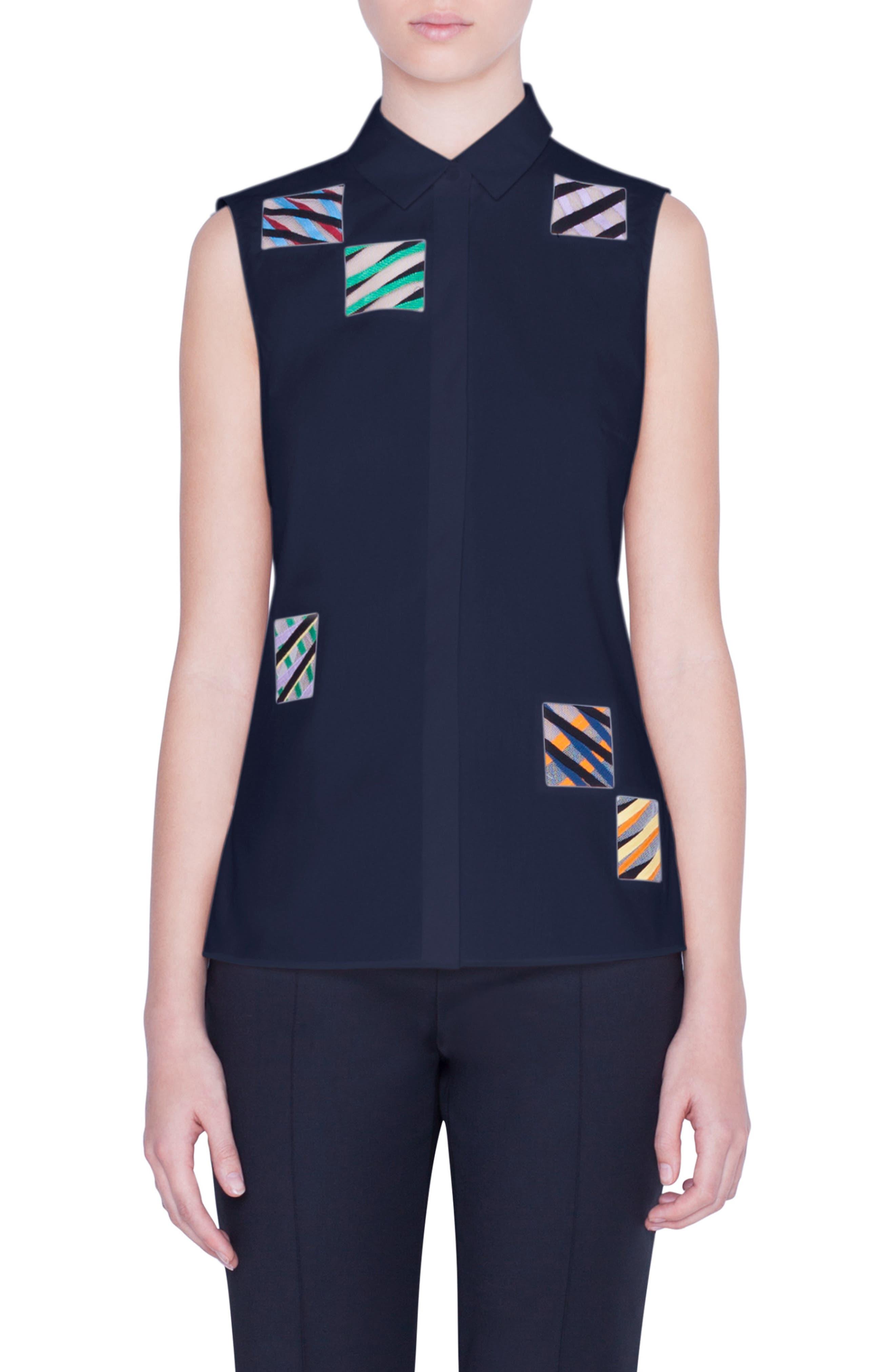 Akris Punto Patchwork Embroidered Sleeveless Shirt, Black