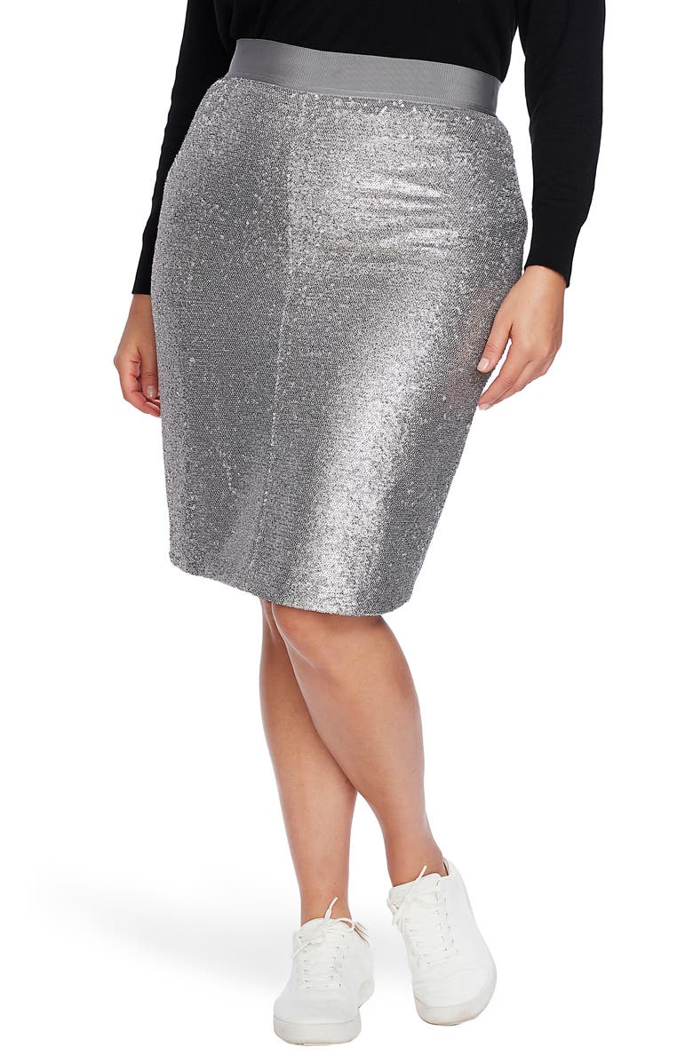 COURT & ROWE Sequin Pencil Skirt, Main, color, SILVER HEATHER