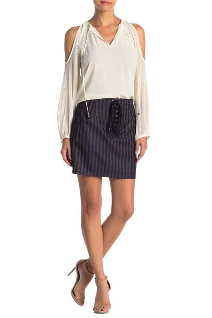 Image of Heartloom Ophelia Front Lace-Up Stripe Skirt