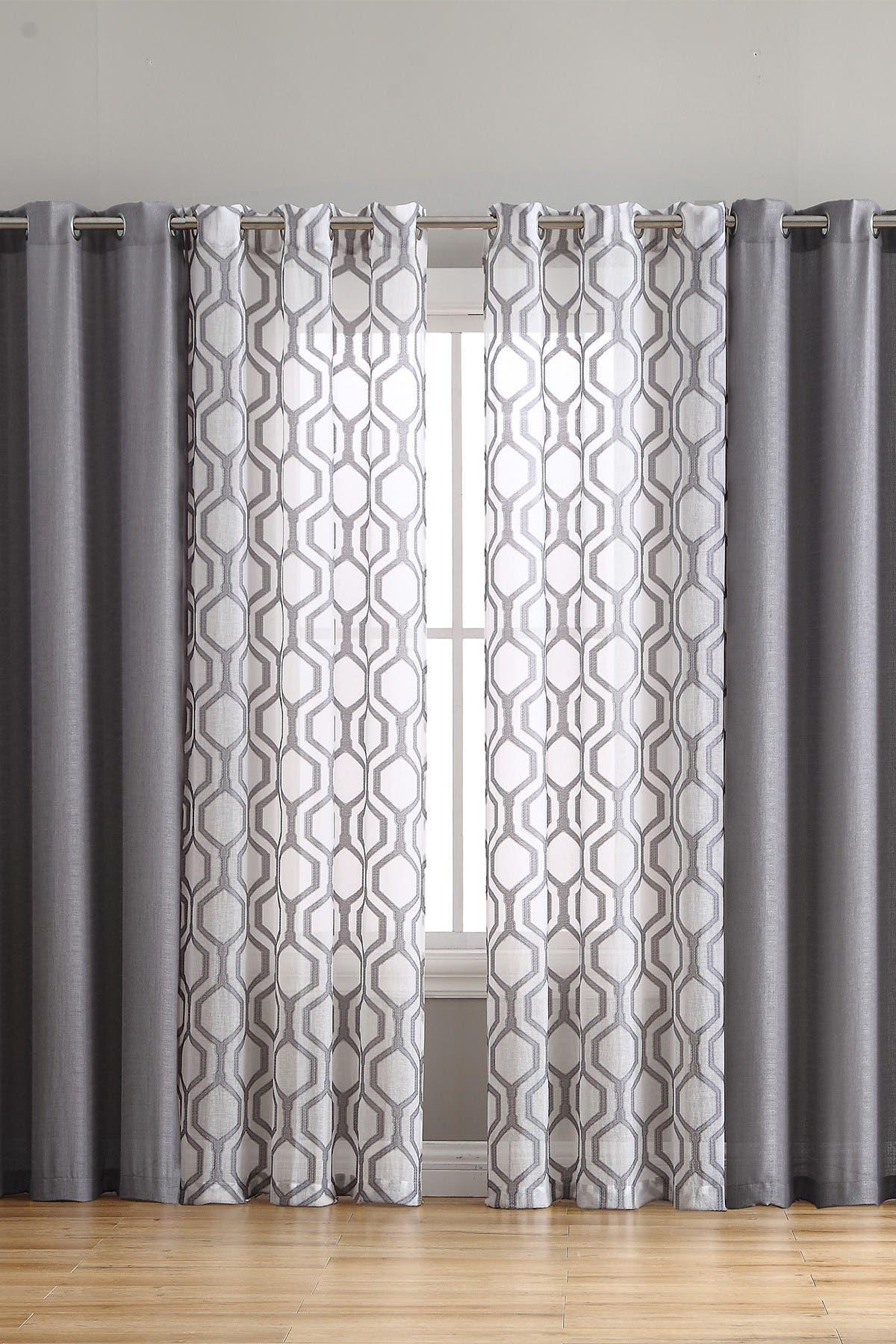 Vcny Home Auckland 4 Piece Sheer Curtain Panel Set Grey Hautelook