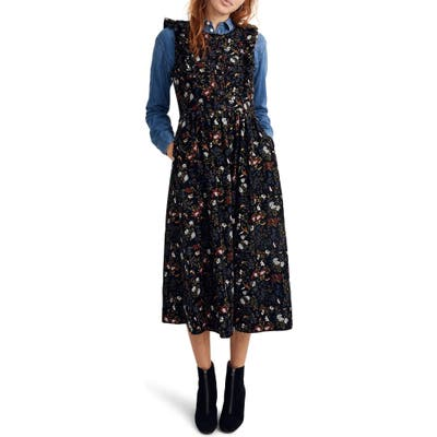 Madewell Floral Corduroy Ruffle Front Dress, Black