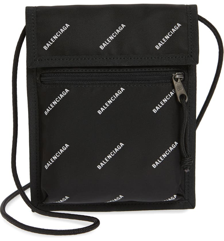 BALENCIAGA Logo Canvas Pouch, Main, color, BLACK/WHITE