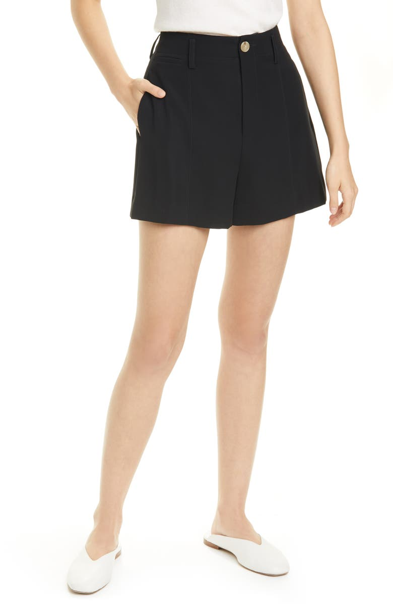 VINCE High Waist Topstitch Detail Shorts, Main, color, BLACK