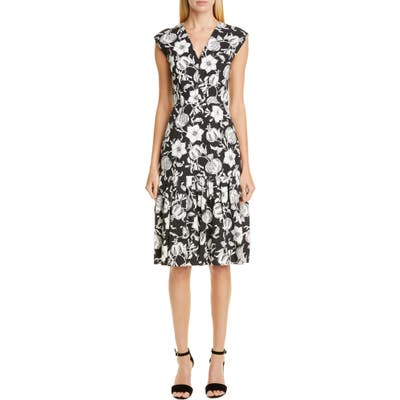 Carolina Herrera Floral Pleated Hem Dress, Black