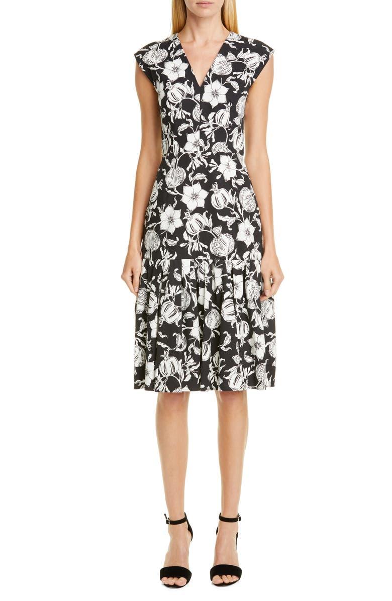 CAROLINA HERRERA Floral Pleated Hem Dress, Main, color, BLACK/ WHITE