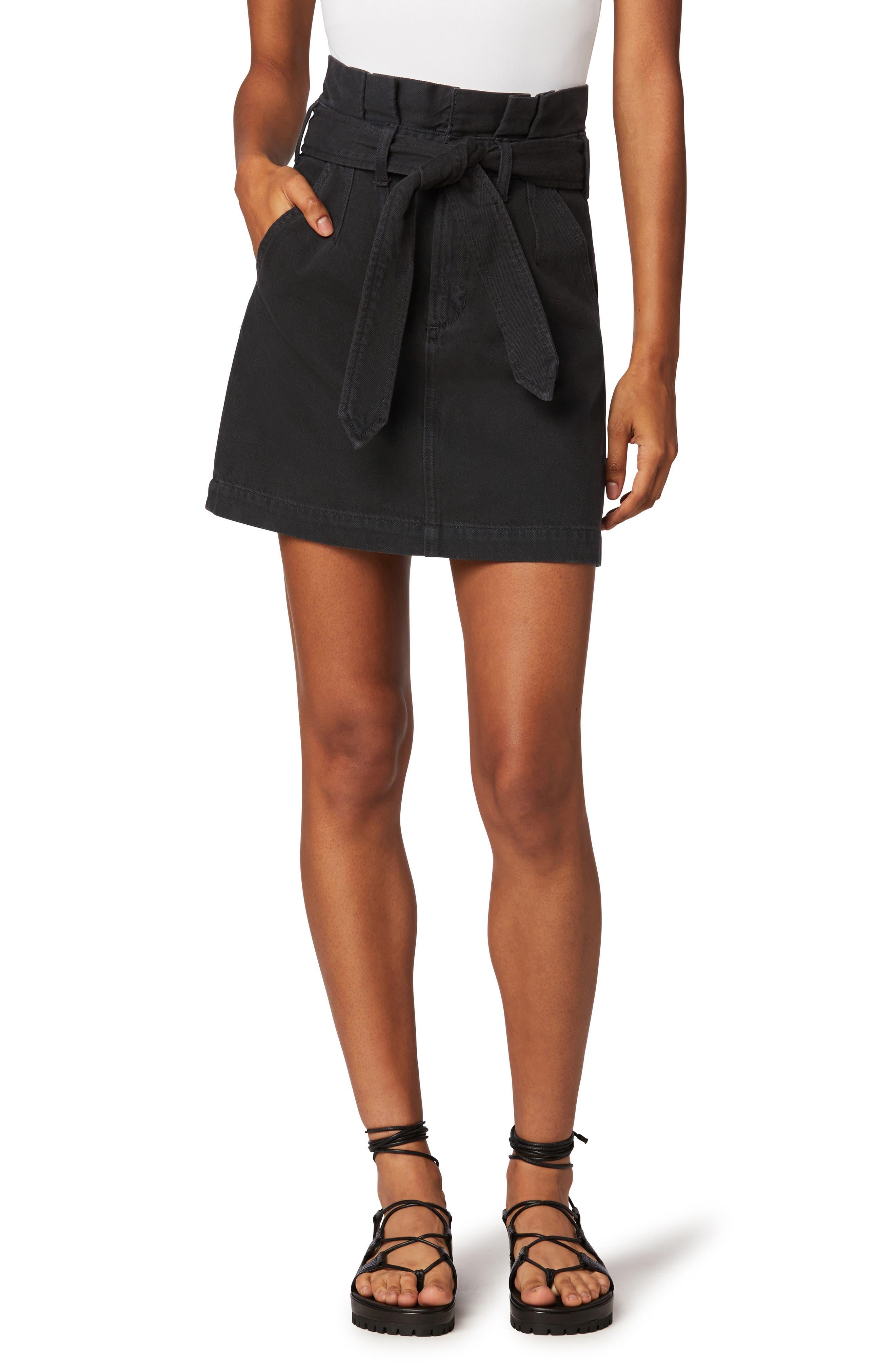 The Calypso Paperbag Waist Denim Mini Skirt