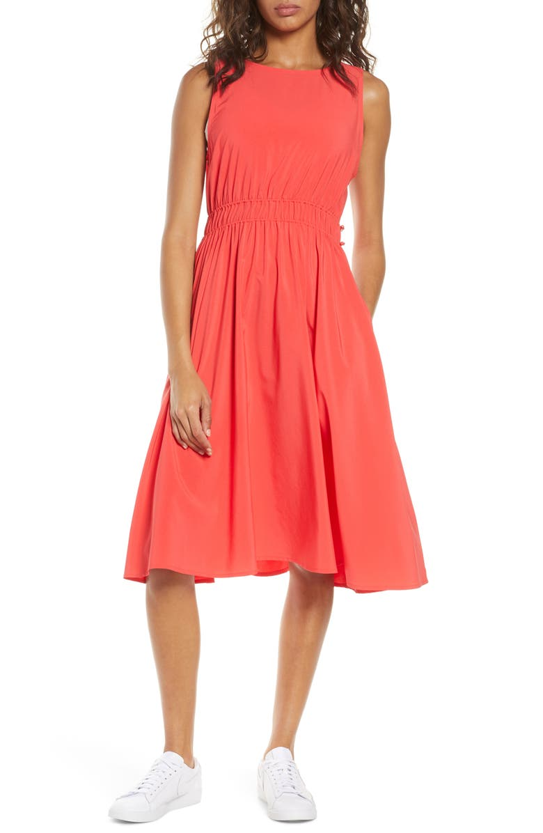ZELLA Rosie Sleeveless Woven Dress, Main, color, RED HIBISCUS