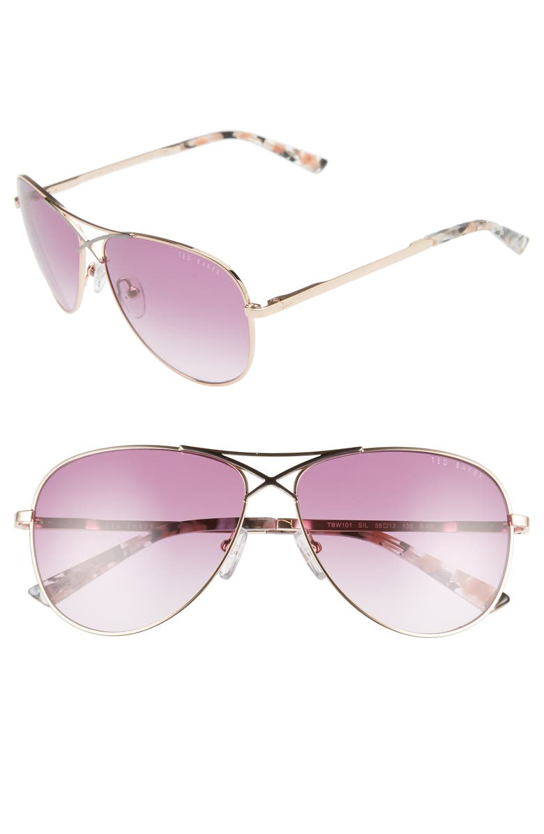 TED BAKER LONDON 58mm Gradient Aviator Sunglasses, Main, color, SILVER/ LILAC
