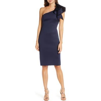 Eliza J One-Shoulder Scuba Crepe Cocktail Dress, Blue
