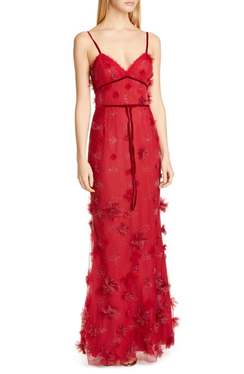 MARCHESA NOTTE Floral Appliqué Trumpet Gown, Main, color, WINE