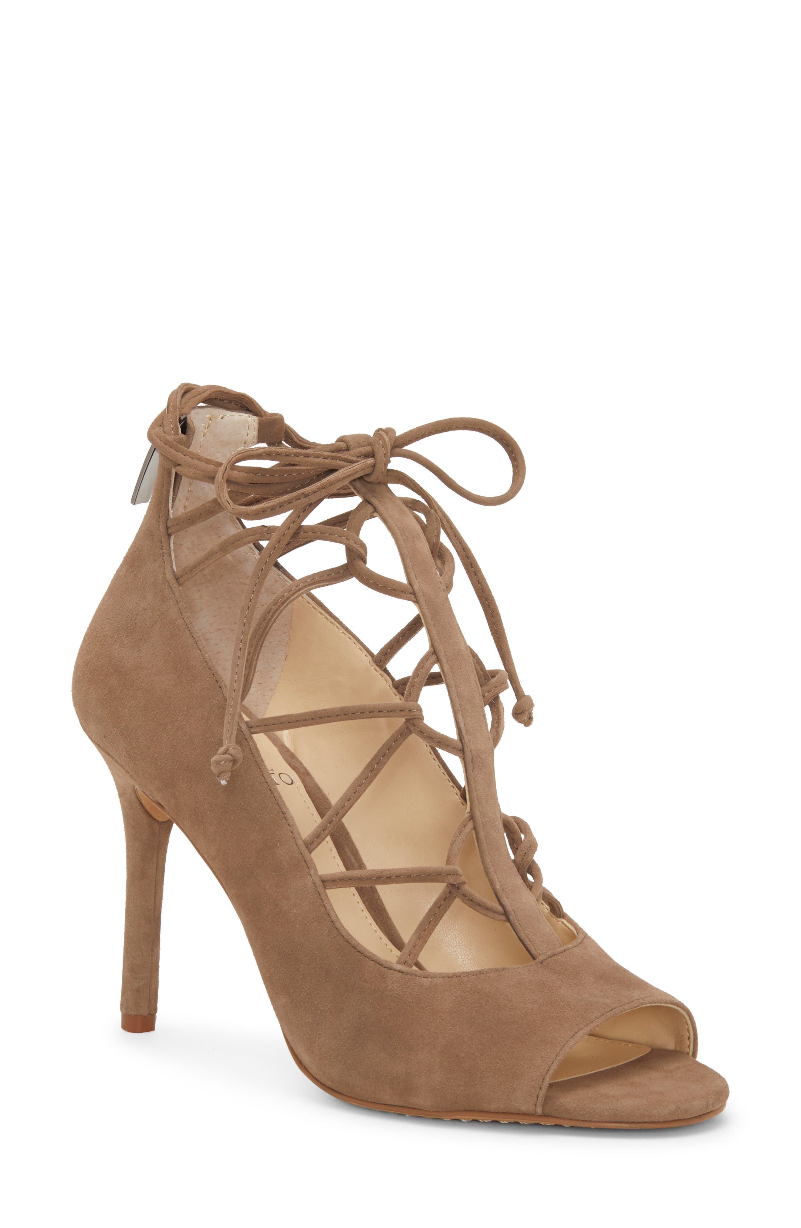 Vince Camuto Chennan Lace-Up Open Toe Pump (Women)