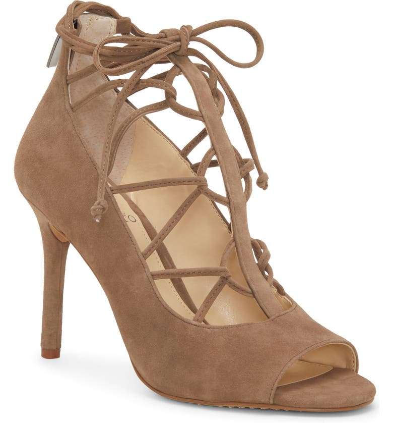 VINCE CAMUTO Chennan Lace-Up Open Toe Pump, Main, color, TUSCAN TAUPE SUEDE