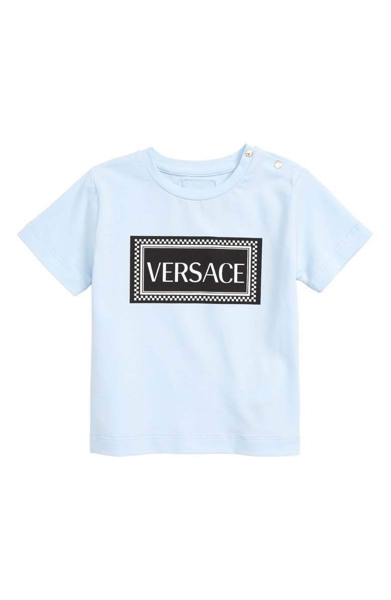 VERSACE Logo T-Shirt, Main, color, LIGHT BLUE