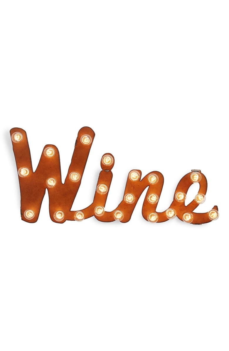 UNIVERSAL IRONWORKS 'Marquee Lights - Wine' Recycled Metal Sign, Main, color, 200