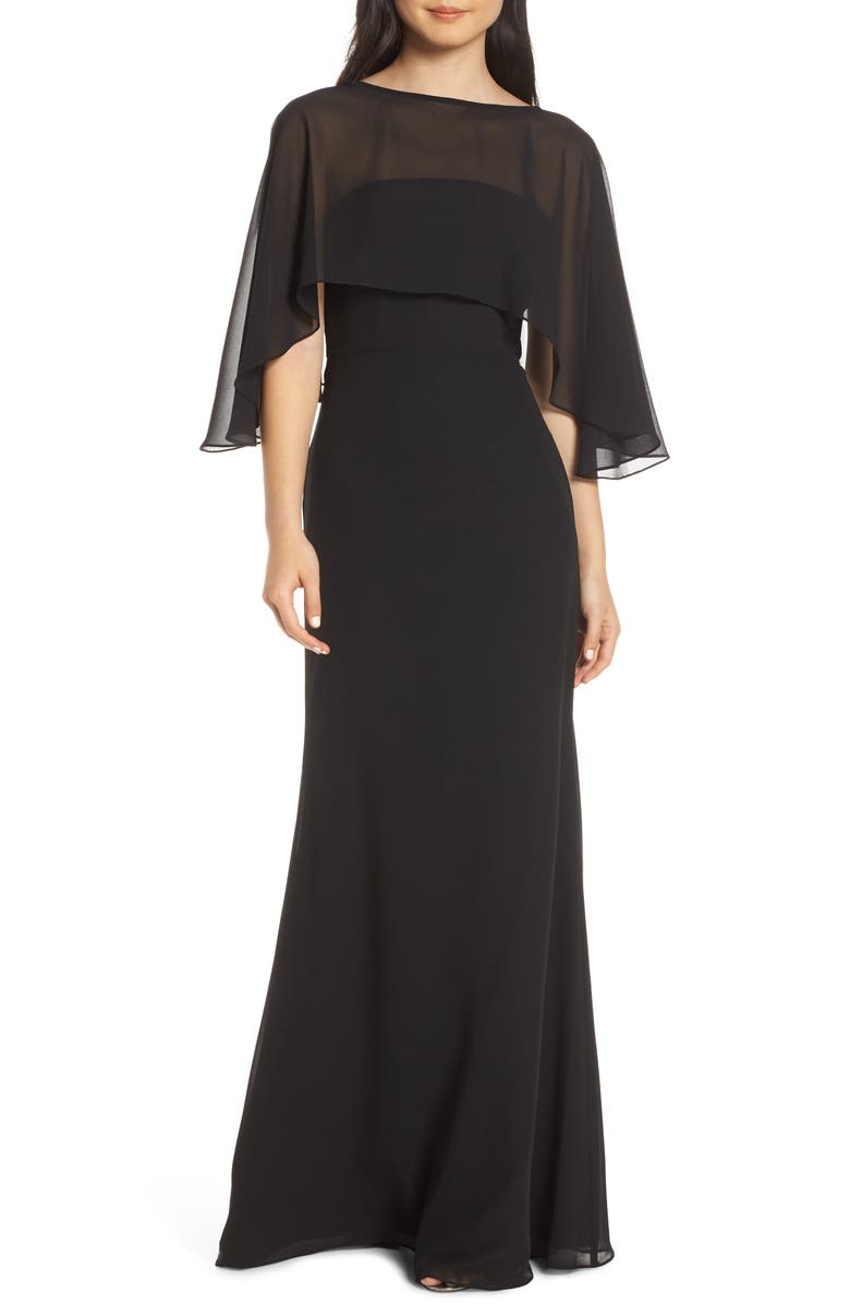 HAYLEY PAIGE OCCASIONS Strapless Chiffon Evening Dress with Cape, Main, color, BLACK