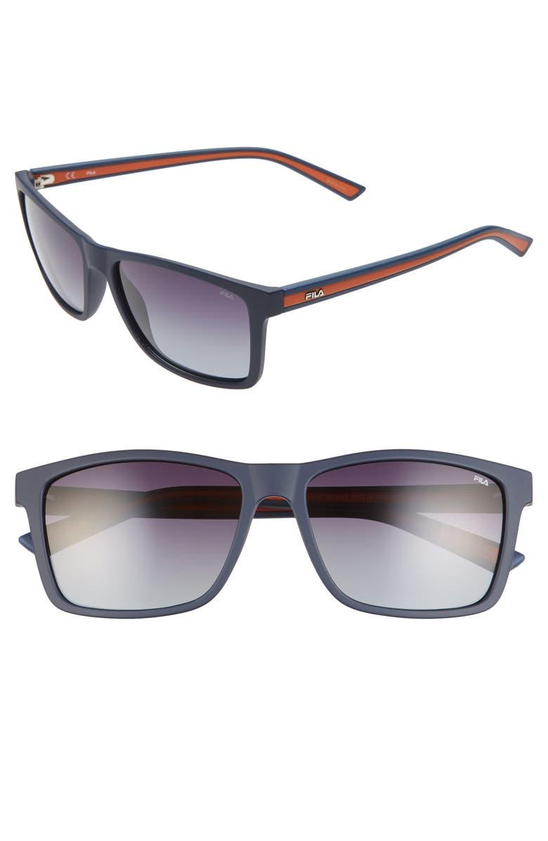 FILA 57mm Polarized Gradient Square Sunglasses, Main, color, 410