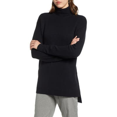 Halogen Turtleneck Wool Blend Tunic Sweater, Black