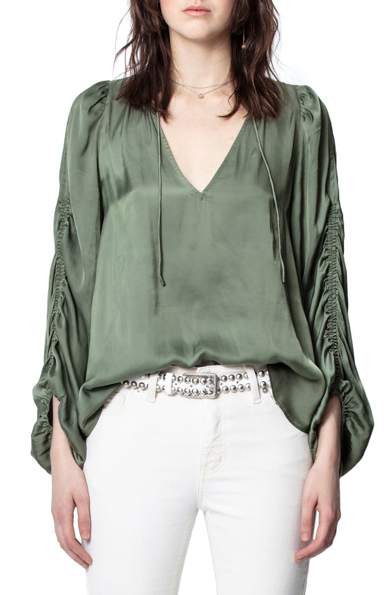ZADIG & VOLTAIRE Twenty Ruched Sleeve Satin Blouse, Main, color, 300