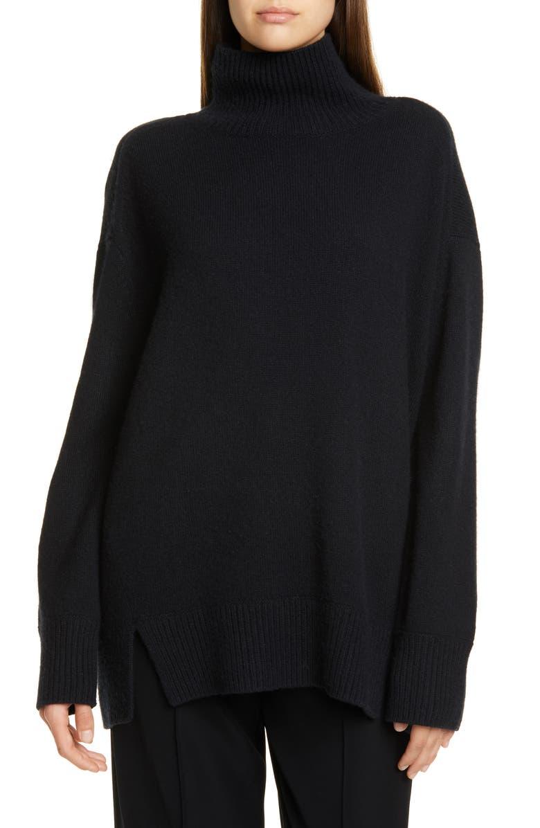 VINCE Double Slit Cashmere Turtleneck Sweater, Main, color, BLACK