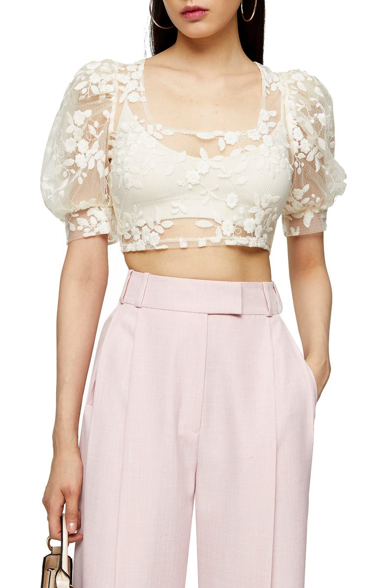 TOPSHOP Embroidered Mesh Crop Top, Main, color, CREAM
