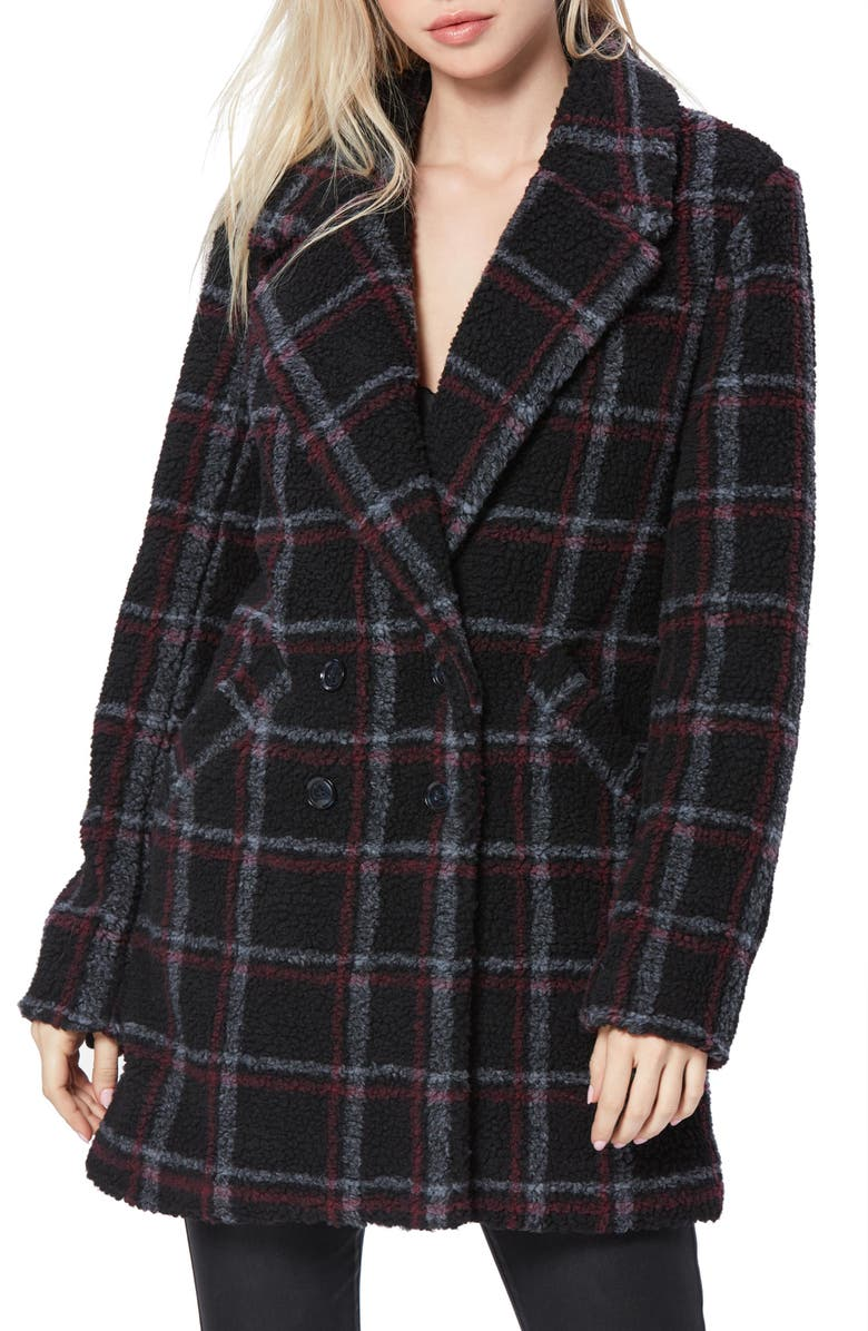 PAIGE Sabinah Double Breasted Coat, Main, color, BLACK/ RED