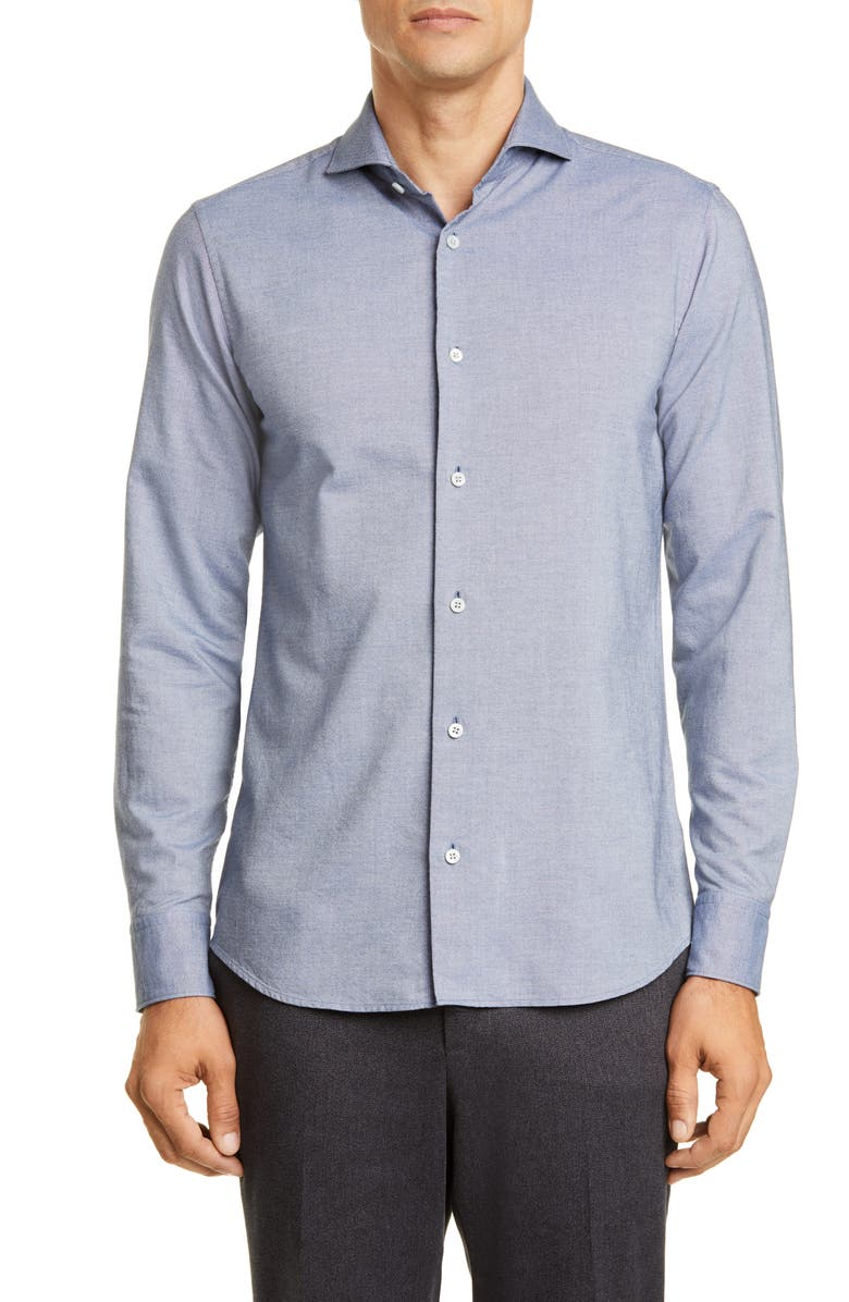 Z ZEGNA Slim Fit Washed Button-Up Shirt, Main, color, 452
