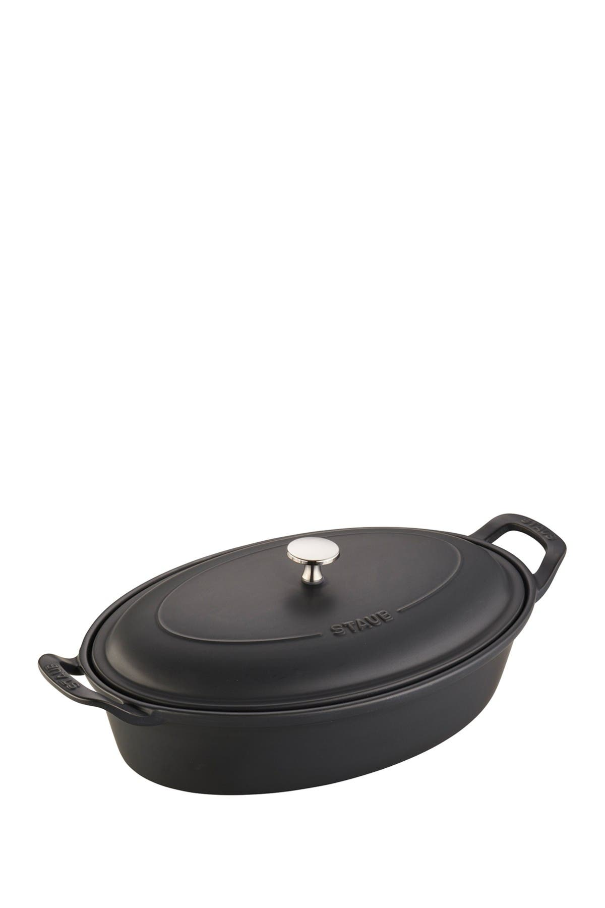 Image of Staub Ceramic 14-inch Oval Covered Baking Dish - Matte Black