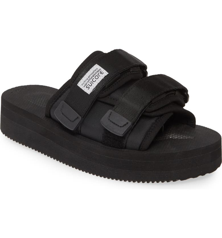 SUICOKE Moto Cab Platform Slide Sandal, Main, color, BLACK