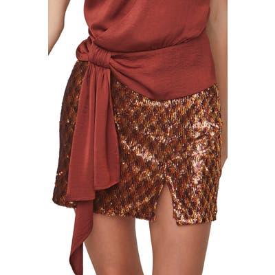 Astr The Label Tai Sequin Miniskirt, Metallic
