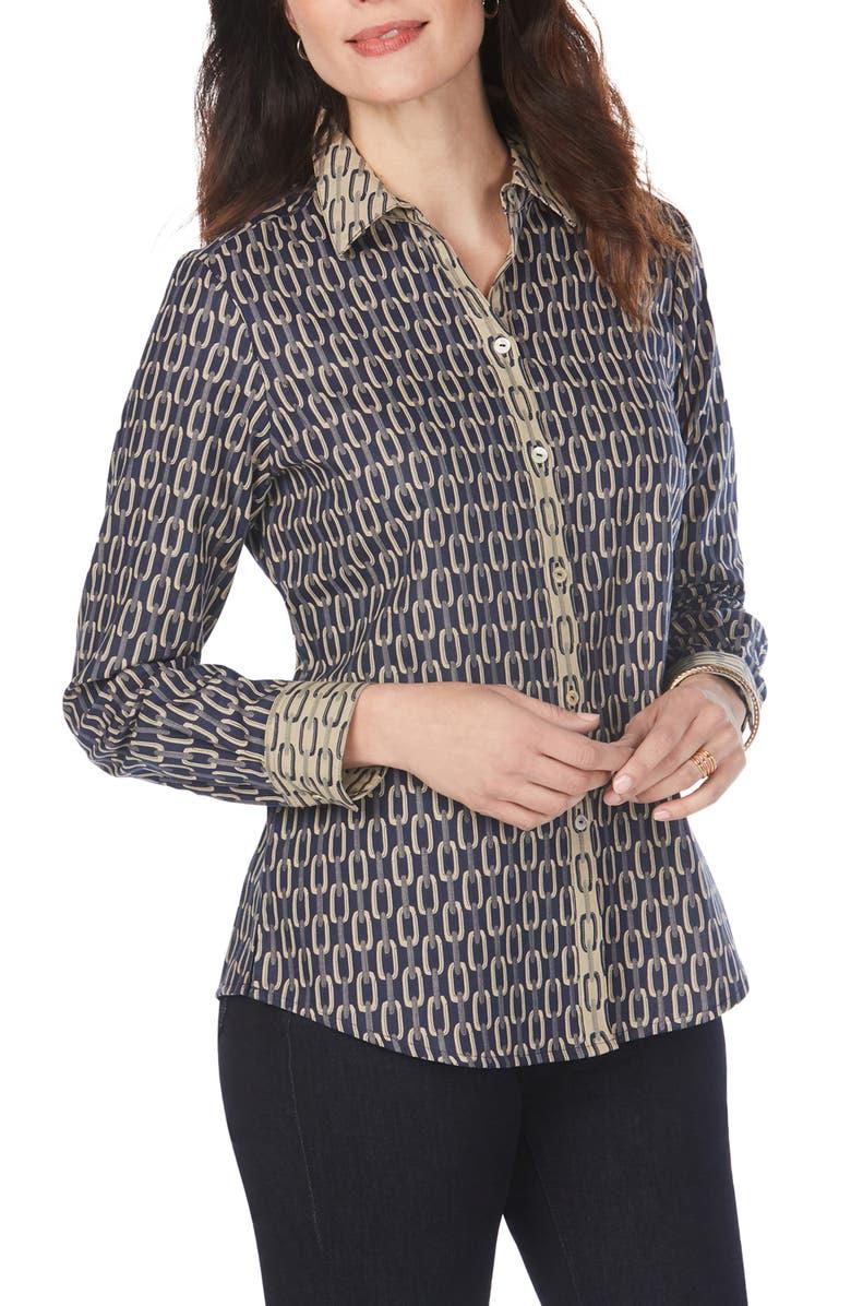 FOXCROFT Ava Chain Jacquard Shirt, Main, color, NAVY