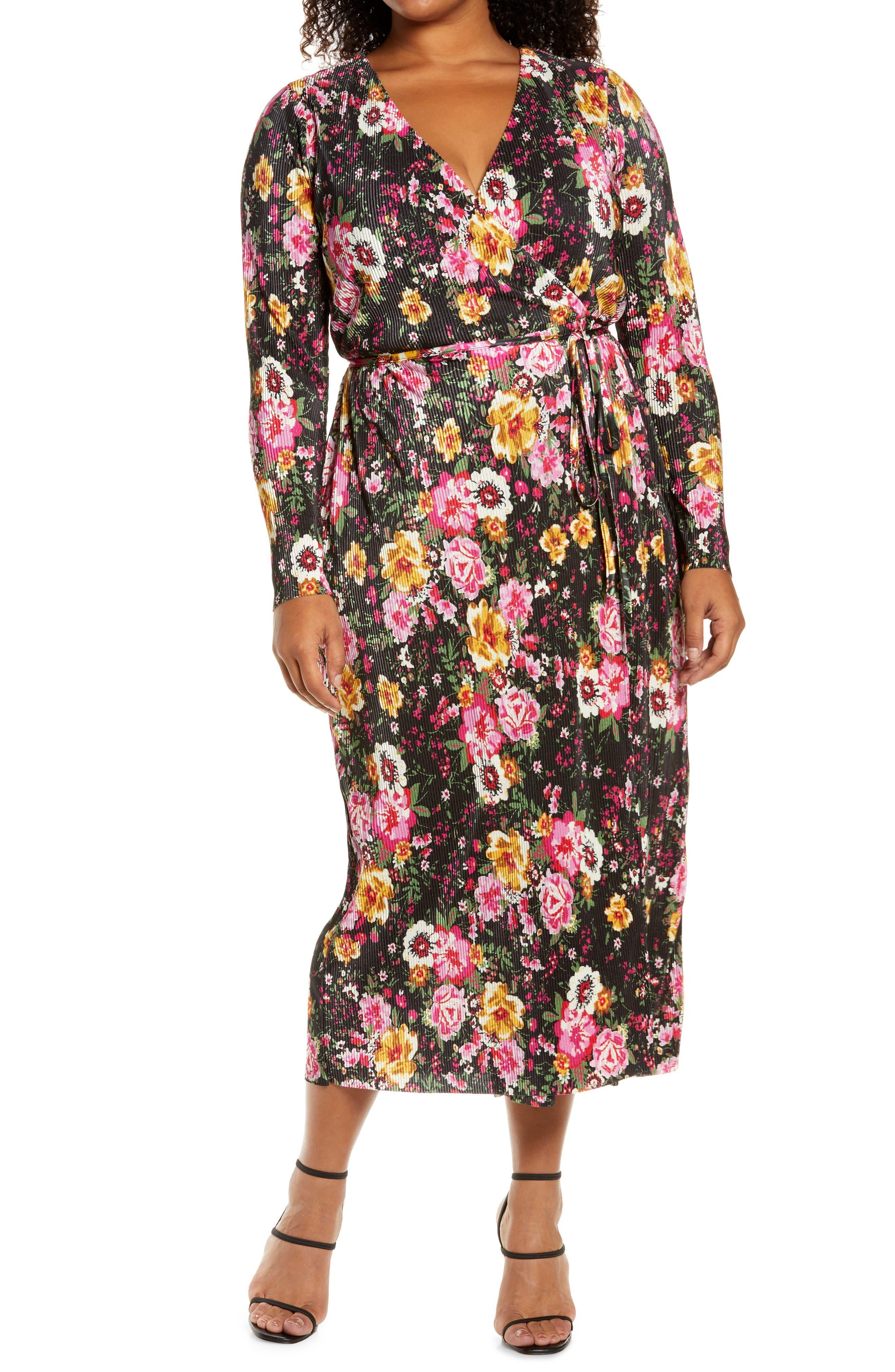 Floral Print Plisse Long Sleeve Wrap Dress