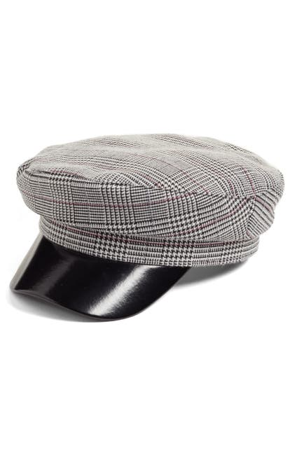 Image of Leith Faux Leather & Glen Plaid Baker Boy Hat